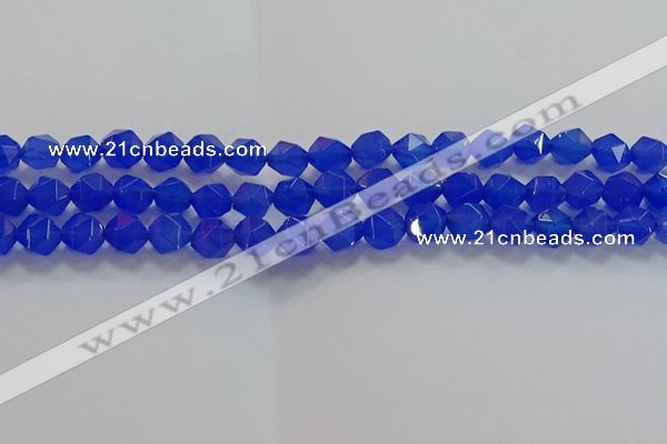 CNG6509 15.5 inches 8mm faceted nuggets blue agate beads