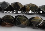 CNG654 15.5 inches 13*18mm faceted nuggets blue tiger eye beads