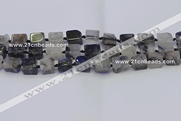 CNG6822 15.5 inches 8*12mm - 10*16mm nuggets black rutilated quartz beads