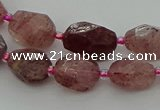 CNG6923 15.5 inches 8*12mm - 12*16mm faceted nuggets strawberry quartz bead