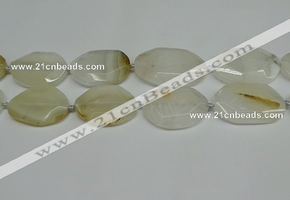 CNG7080 15.5 inches 25*35mm - 35*45mm faceted freeform agate beads