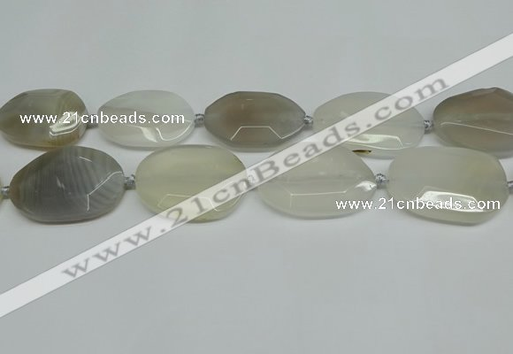 CNG7081 15.5 inches 25*35mm - 35*45mm faceted freeform agate beads