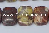 CNG7120 10*18mm freeform double drilled birdeye rhyolite beads