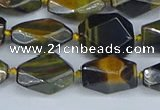 CNG7140 6*10mm - 10*14mm faceted nuggets blue tiger eye beads