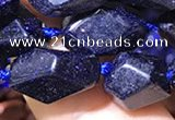 CNG7143 15.5 inches 6*10mm - 10*14mm faceted nuggets blue glodstone beads