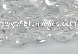 CNG7212 15.5 inches 10mm faceted nuggets white crystal beads