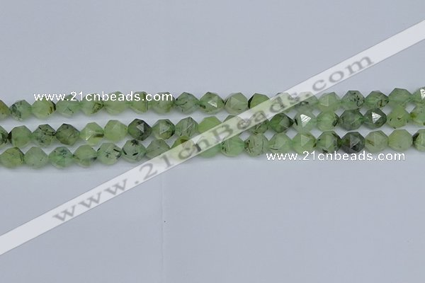 CNG7240 15.5 inches 6mm faceted nuggets green rutilated quartz beads