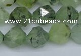 CNG7242 15.5 inches 10mm faceted nuggets green rutilated quartz beads