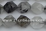 CNG7248 15.5 inches 12mm faceted nuggets black rutilated quartz beads