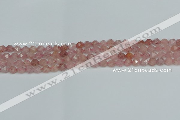 CNG7255 15.5 inches 6mm faceted nuggets strawberry quartz beads