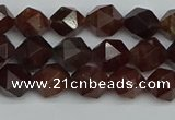 CNG7270 15.5 inches 6mm faceted nuggets orange garnet beads