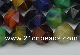 CNG7332 15.5 inches 10mm faceted nuggets mixed tiger eye beads