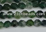 CNG7335 15.5 inches 6mm faceted nuggets moss agate beads