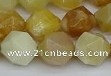 CNG7368 15.5 inches 12mm faceted nuggets yellow opal beads