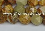 CNG7378 15.5 inches 12mm faceted nuggets picture jasper beads
