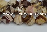 CNG7381 15.5 inches 8mm faceted nuggets zebra jasper beads