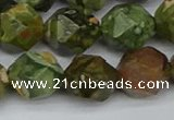 CNG7398 15.5 inches 12mm faceted nuggets rhyolite gemstone beads