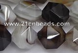 CNG7504 15.5 inches 12mm faceted nuggets line agate beads