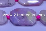 CNG7524 15.5 inches 18*25mm - 25*35mm faceted freeform pink opal beads
