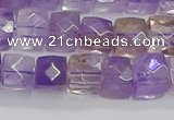 CNG7658 15.5 inches 8*8mm faceted nuggets ametrine beads