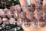 CNG7756 13*18mm - 15*25mm faceted freeform strawberry quartz beads