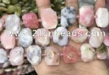 CNG7780 13*18mm - 15*25mm faceted freeform pink opal beads
