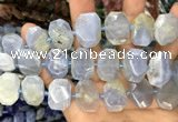 CNG7781 13*18mm - 15*25mm faceted freeform blue chalcedony beads