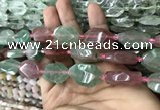 CNG7807 13*18mm - 18*25mm faceted freeform mixed strawberry quartz beads