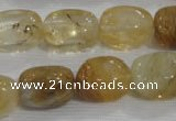 CNG782 15.5 inches 13*18mm nuggets golden rutilated quartz glass beads