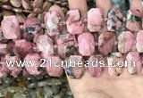 CNG7905 13*18mm - 15*25mm faceted freeform rhodochrosite beads