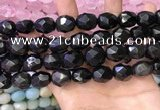 CNG8574 12*16mm - 15*20mm faceted nuggets black obsidian beads