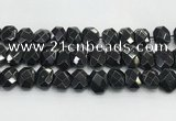 CNG8624 10*13mm - 12*16mm faceted freeform black agate beads