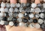 CNG8735 15.5 inches 12mm faceted nuggets black rutilated quartz beads