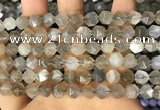 CNG8747 15.5 inches 8mm faceted nuggets grey moonstone beads