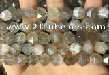 CNG8749 15.5 inches 12mm faceted nuggets grey moonstone beads