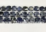 CNG8792 16*17mm – 18*19mm faceted nuggets sodalite  beads