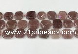 CNG8803 15.5 inches 16mm - 20mm faceted freeform strawberry quartz beads