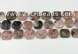 CNG8814 15.5 inches 16mm - 20mm faceted freeform rhodonite beads