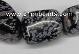CNG91 15.5 inches 14*16mm - 20*30mm nuggets snowflake obsidian beads