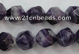 CNG932 15 inches 16mm faceted nuggets amethyst gemstone beads