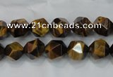 CNG937 15 inches 10mm faceted nuggets yellow tiger eye beads