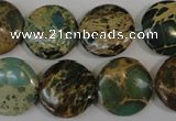 CNI34 15.5 inches 18mm flat round natural imperial jasper beads