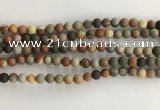 CNI376 15.5 inches 6mm round matte American picture jasper beads