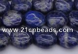 CNL1105 15.5 inches 10mm flat round lapis lazuli gemstone beads