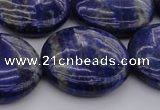 CNL1111 15.5 inches 25mm flat round lapis lazuli gemstone beads