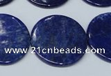CNL1280 15.5 inches 25mm flat round natural lapis lazuli beads