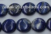 CNL733 15.5 inches 16mm flat round natural lapis lazuli gemstone beads
