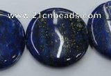 CNL738 15.5 inches 30mm flat round natural lapis lazuli gemstone beads