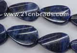 CNL985 15.5 inches 17*25mm twisted flat teardrop natural lapis lazuli beads