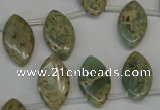 CNS218 Top-drilled 10*18mm marquise natural serpentine jasper beads